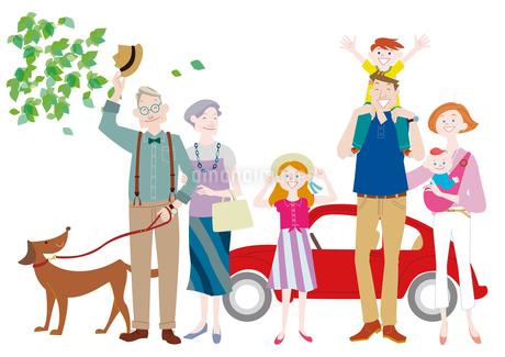 車を停めて犬の散歩をする三世代家族 肩車をする親子のイラスト素材 [FYI01664377]