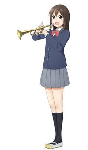 トランペットを吹く吹奏楽部の女の子のイラスト素材 [FYI01664399]