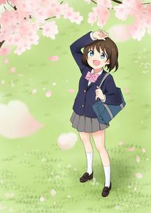花びらが舞う桜を見上げる女子高校生のイラスト素材 [FYI01664588]