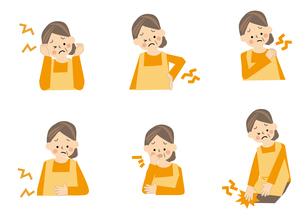 中年女性 腰痛 肩こり 腹痛 頭痛のイラスト素材 [FYI01665356]