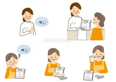 薬剤師 中年女性のイラスト素材 [FYI01665358]