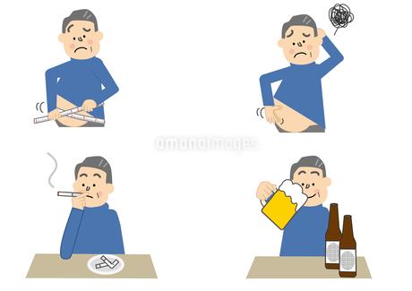 メタボリック 飲酒 喫煙 中年男性のイラスト素材 [FYI01665384]