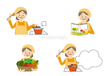 食事療法 料理する中年女性のイラスト素材 [FYI01665403]