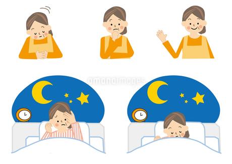 中年女性 不眠のイラスト素材 [FYI01665416]