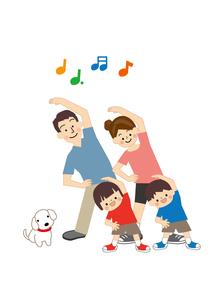運動 ラジオ体操 家族のイラスト素材 [FYI01665417]