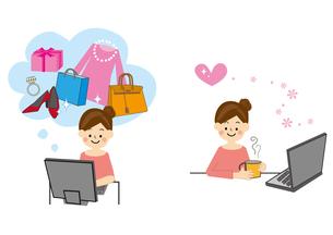 ネットショッピング 女性のイラスト素材 [FYI01665430]