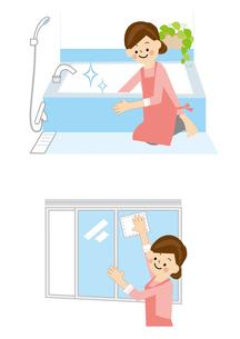 家事 お風呂掃除 窓ふきのイラスト素材 [FYI01665445]