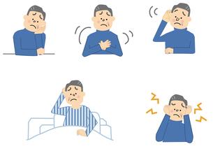 動悸 耳鳴り 難聴 うつ 中年男性のイラスト素材 [FYI01665462]