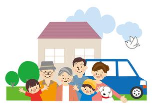家族 家と車のイラスト素材 [FYI01665489]