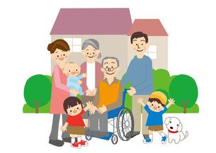 介護高齢者家族のイラスト素材 [FYI01665517]