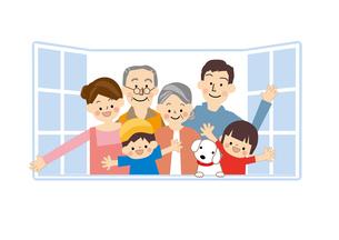 家族 窓のイラスト素材 [FYI01665537]