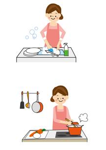 家事 食器洗い 料理のイラスト素材 [FYI01665556]