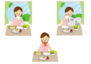 女性と朝食のイラスト素材 [FYI01665564]