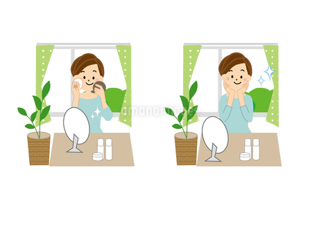 身支度をする女性 化粧のイラスト素材 [FYI01665585]