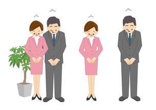 ビジネス 男性 女性 お辞儀 OL 事務のイラスト素材 [FYI01665596]