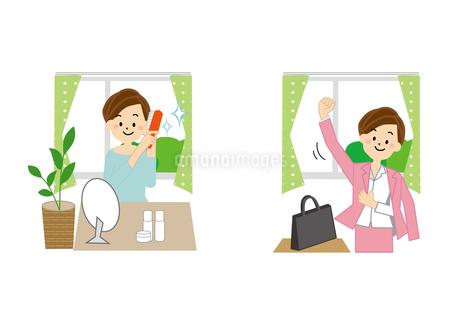 身支度をする女性のイラスト素材 [FYI01665597]
