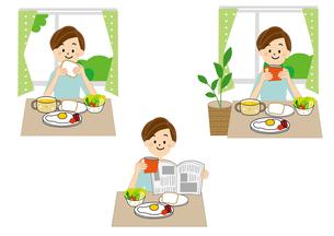 朝食 女性のイラスト素材 [FYI01665603]