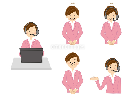 OL 受付 事務 女性 テレフォンオペレーターのイラスト素材 [FYI01665620]