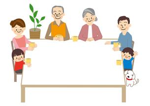 家族3世代 人物 テーブルフレームのイラスト素材 [FYI01665623]