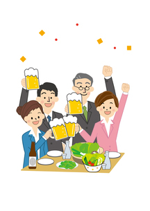 宴会 うちあげ 男性と女性のイラスト素材 [FYI01665628]