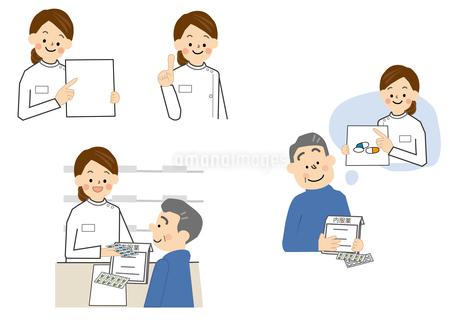 薬剤師と中年男性のイラスト素材 [FYI01665631]