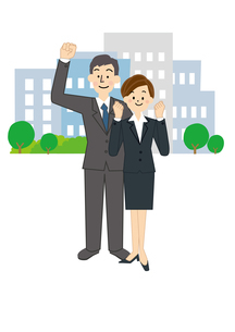 ビジネス 男性と女性のイラスト素材 [FYI01665639]