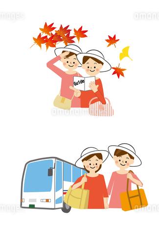 旅行する女性と観光バスのイラスト素材 [FYI01665642]