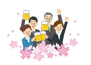 花見 桜とビールを飲む男性と女性のイラスト素材 [FYI01665644]