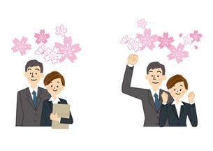 新入社員 桜 男性と女性のイラスト素材 [FYI01665647]