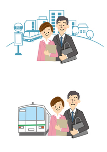 通勤 男性 女性 バス 電車のイラスト素材 [FYI01665661]