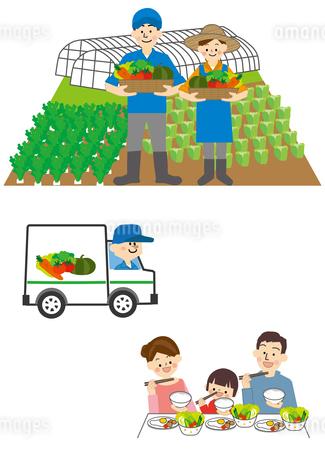 野菜農家から運送して家族の食卓へのイラスト素材 [FYI01665675]