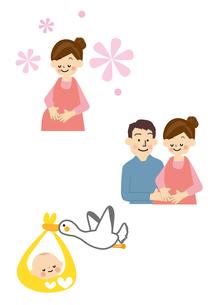 妊婦・赤ちゃん・こうのとりのイラスト素材 [FYI01665682]
