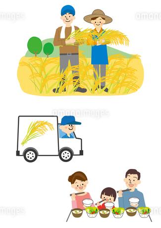 米農家から運送して家族の食卓へのイラスト素材 [FYI01665684]