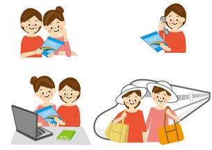 旅行 女性と新幹線のイラスト素材 [FYI01665685]