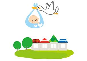 赤ちゃんとコウノトリのイラスト素材 [FYI01665693]