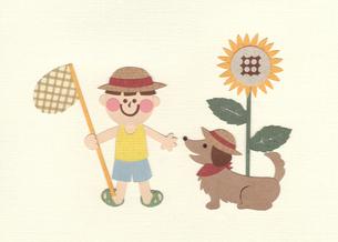犬と少年とひまわりの写真素材 [FYI01665713]