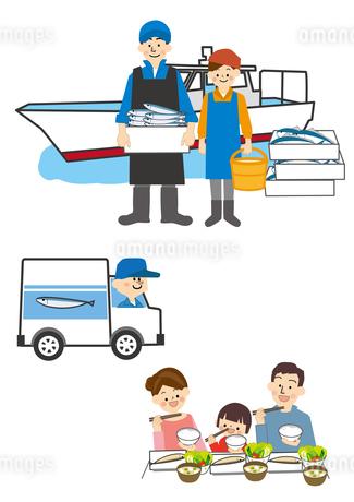 漁師から運送して家族の食卓へのイラスト素材 [FYI01665717]