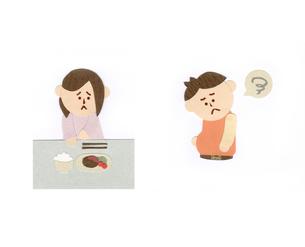食欲不振の女性と肥満の男性のイラスト素材 [FYI01665720]