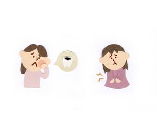 歯痛の女性と腹痛の女性のイラスト素材 [FYI01665721]