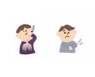 喫煙する男性と胸痛の男性のイラスト素材 [FYI01665722]