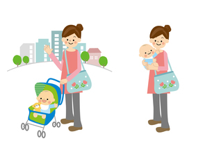 赤ちゃんとお母さんのイラスト素材 [FYI01665734]