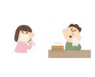 咳をする女性と鼻炎の男性のイラスト素材 [FYI01665750]
