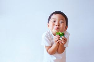 ピーマンをかぶりついて食べる笑顔の子供の写真素材 [FYI01665878]