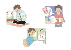 男性の医療イメージ 腹痛 薬 入院のイラスト素材 [FYI01666327]