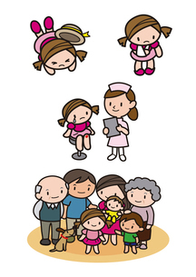怪我 診察を受ける女の子 家族の集合のイラスト素材 [FYI01666355]
