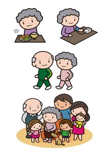健康を考えるシニア女性 家族の集合のイラスト素材 [FYI01666356]