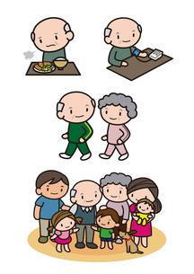 健康を考えるシニア男性 家族の集合のイラスト素材 [FYI01666358]