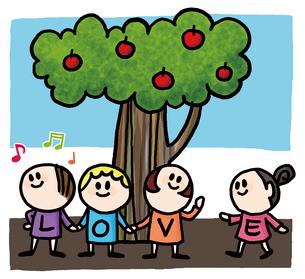木と子供達のイラスト素材 [FYI01666363]
