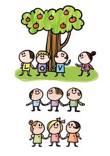 木と子供達のイラスト素材 [FYI01666364]