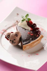 くまマカロン付チョコレートタルトの写真素材 [FYI01666892]